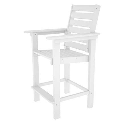 POLYWOOD CCB25WH Captain Counter Chair, White