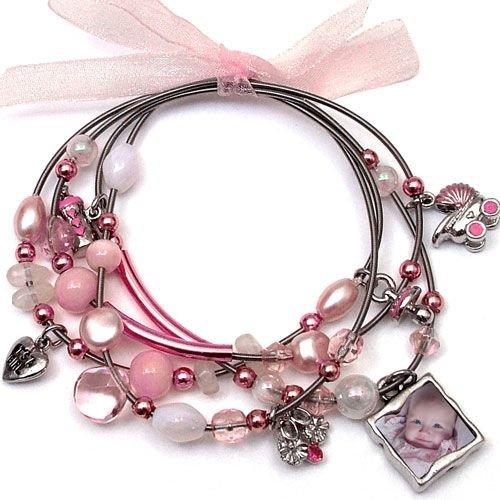 Memory Maker Baby Girl Keepsake Picture Photo Frame Charm Bracelet for Mother