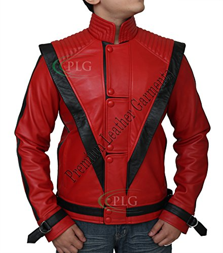 Michael Jackson Thriller Red Leather Jacket - Real Leather ►BEST SELLER◄