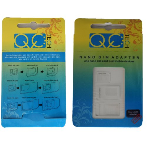 Qq-Tech® Noosy Mini Sim Micro Sim Nano Sim Adapters Converters All In One Pack For Iphone 5, Iphone 4, 4S And Other Phones
