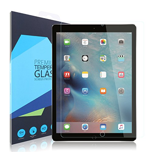 iPad Pro 12.9 Screen Protector, iXCC 0.3mm Full Cover 9H Hardness Tempered Glass Screen Protector [Anti-scratch, Anti-glare] for iPad Pro 12.9 Inch (Ipad Protective Screen Cover compare prices)