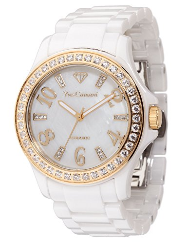 Yves Camani Women's Cereste Quartz Watch with Mother of Pearl Dial Analogue Display and White Ceramic Bracelet YC1077-A