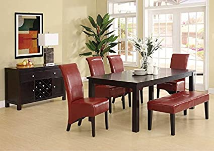 "BURGUNDY LEATHER-LOOK 40""H PARSON CHAIR / 2PCS PER CTN (SIZE: 19L X 26W X 40H)"