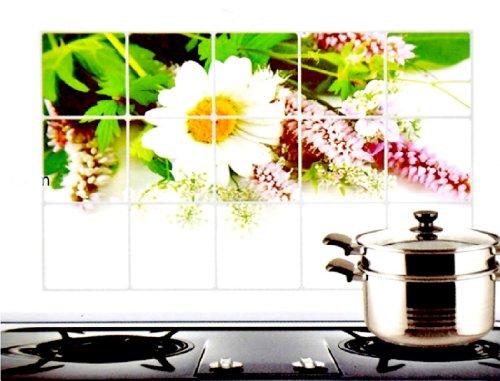 HotEnergy 17.7*29.5 inch Oil Proof Aluminum Foil Sticker Kitchen Wall Paper Decal (Chrysanthemum)