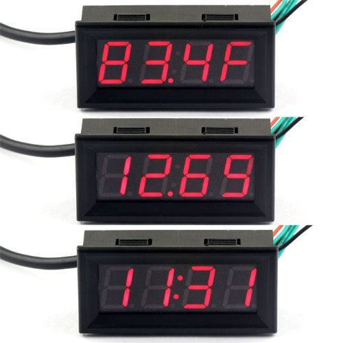 """Riorand Fahrenheit Scale 0.56"""" Dc 12V Digital Car Clock Thermometer Voltmeter 3In1 Red Led Auto Gauges Ds18B20 Probe"""