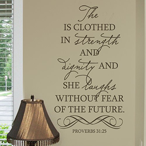 Bible Wall Decal - She is clothed in strength and dignity and she laughs without fear of the future. Vinyl Art Sticker (Black, Small)