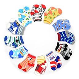 HOVEOX Kids Baby Toddler Socks Non-Skid Crew Walkers Unisex 6 pairs,Multi-color,One Size