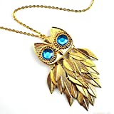 DDU(TM) 1Pc Unique Turquoise Crystal Rhinestone Owl Tassal Pendant Sweater Chain Necklace Accessories Gift