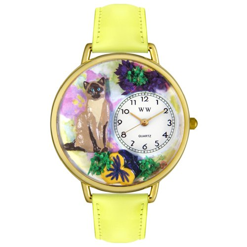 Whimsical Watches Unisex G0120007 Siamese Cat Yellow Leather Watch