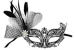 Musette Laser-Cut Metal Black Venetian Decorated Masquerade Mask