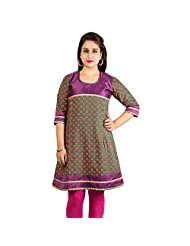 Rama Cotton Multi Printed Knee Length Kurti (14RAMA1421082)