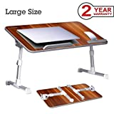 Neetto [Large Size] Adjustable Laptop Bed Table, Portable Standing Desk, Foldable Sofa Breakfast Tray, Notebook Stand Reading Holder for Couch Floor Kids - American Cherry (Color: American Cherry)