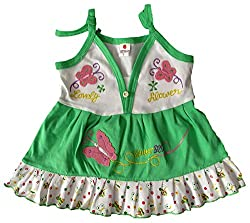 Amykids Baby Girls' Noodle Strap Frock (257g-g, Green, 18-24 Months)