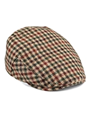 Pure Wool Checked Flat Cap
