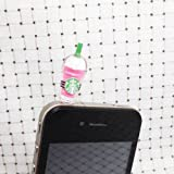 6 Color Starbucks Strawberry Kiwi Milk Vodka Mango Vanilla Frappuccino Cup Dust Plug 3.5mm Phone Accessory Cell Phone Plug iPhone Dust Plug Samsung Plug Phone Charm Headphone Jack Earphone Cap Ear Cap Dust Plug (6PCS with 6 Colors)
