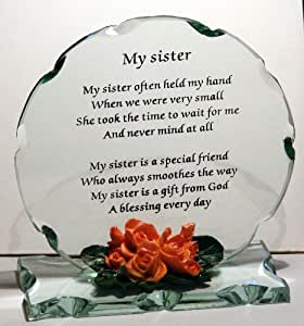 Perfect Wedding Gift For Sister : Sister Poem on Crystal Glass Round Plaque, Perfect Gift for any ...