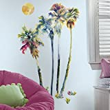 "RoomMates RMK2782GM Watercolor Palm Trees Peel & Stick Giant Wall Decals, 23"" x 47"""