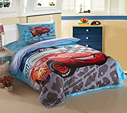 CASA Children cotton series Lightning McQueen duvet cover & pillow cases & Flat sheet,3 Pieces,Twin Extra-Long