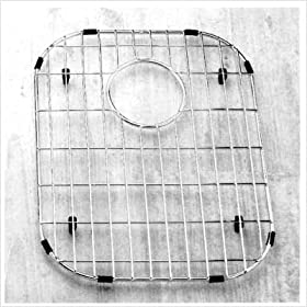 """13.125"""" x 16.5"""" Stainless Steel Sink Grid with Black Rubber Feet"""