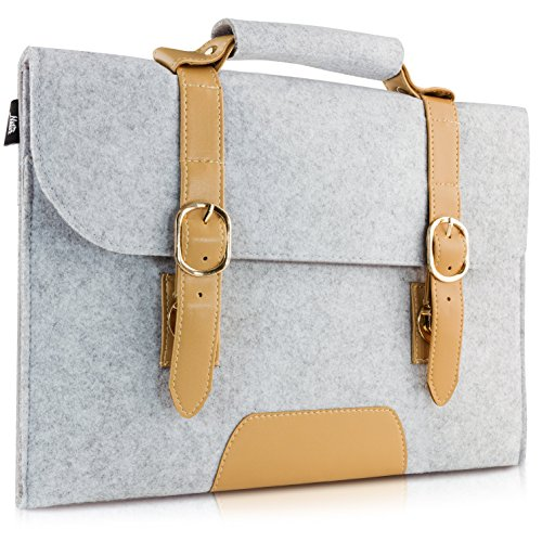 """13-13.3 Inch MacBook Air Sleeve/ MacBook Pro Retina Sleeve Carrying Bag, Natur® 13"""" 13.3"""" Laptop Sleeve Slim Felt Laptop Carry Bag with PU Leather Computer Protective Sleeve Case - Grey"""