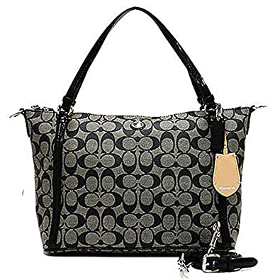 Coach Peyton Signature East / West Convertible Shoulder Bag in Black & White - Style 27020