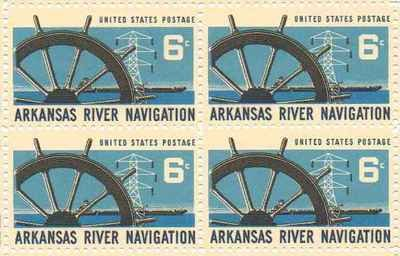 Arkansas River Navigation Set of 4 x 6 Cent US Postage Stamps NEW Scot 1358