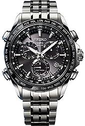 Seiko Solar Titanium Chronograph GPS Controlled Black Dial Men's Watch SSE003