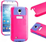 myLife (TM) Hot Pink and Purple - Classic Tough Design (2 Piece Hybrid Bumper) Hard and Soft Case for the Samsung Galaxy S4