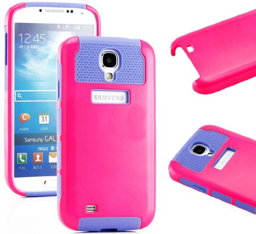 """Mylife (Tm) Hot Pink And Purple - Classic Tough Design (2 Piece Hybrid Bumper) Hard And Soft Case For The Samsung Galaxy S4 """"Fits Models: I9500, I9505, Sph-L720, Galaxy S Iv, Sgh-I337, Sch-I545, Sgh-M919, Sch-R970 And Galaxy S4 Lte-A Touch Phone"""" (Fitted"""