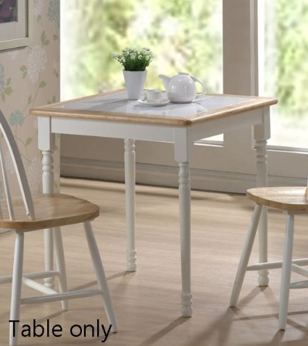 Square Dining Table with Tile Top in White and Natural Finish