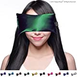 Lavender Eye Pillow - Yoga Eye Pillow for Stress & Migraine Relief w/Free Sleep Mask. Made in USA. Hot or Cold Eye Pillows for Stress Relief, Headaches & Relaxing. By Happy Wraps.(Emerald)