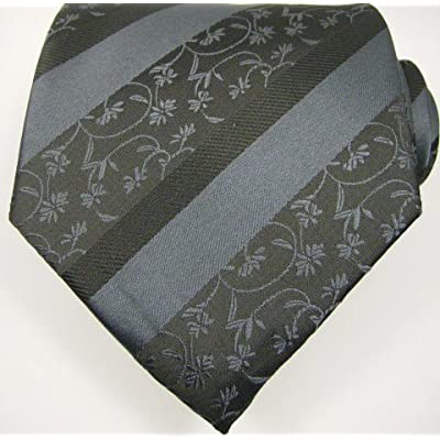 Black Grey Floral Mens Designer 100% Silk NeckTie