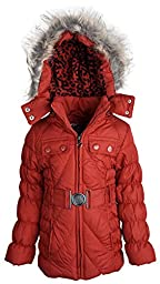 Dollhouse Baby Girls Down Alternative Removable Hood Winter Puffer Coat - Red (12 Months)