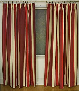 Mali Red Cotton Blend Lined 90x72 Striped Pencil Pleat Curtains #rtsrev *hc* from Curtains