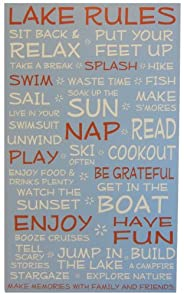 Lake House Rules Sign- Blue - 18 x 30 - Makes a Great Decoration, Wall Art, Gift, Decor in Any Beach House, Cabin, Cottage, Home, or Lodge. Made in USA.