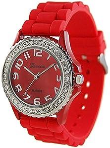 buy Daisy*Vzu (Red) Hot Sale Geneva Platinum Silicone Band Cz Watch Set