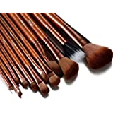 Glow Tan 12 Pc Professional Makeup Brushes Set with Crocodile Leather Design Case