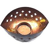 ASIAN AURA Iron Tealight Candle Holder (Black & Copper, 9 Cm X 12.5 Cm X 5 Cm)