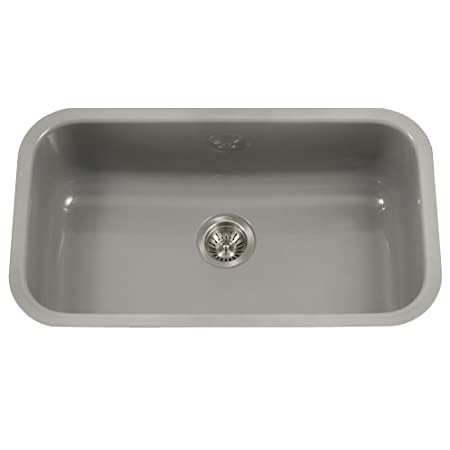 Houzer PCG-3600 SL Porcela Series Porcelain Enamel Steel Undermount Single Bowl Kitchen Sink, Large, Slate