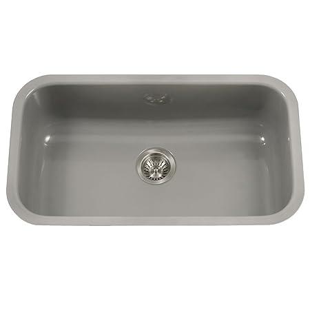 Houzer PCG-3600 SL Porcela Series Porcelain Enamel Steel Undermount Single Bowl Kitchen Sink, Large, Slate