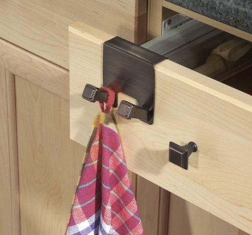 InterDesign Marcel Over-The-Cabinet Kitchen Dish Towel Hooks - Bronze