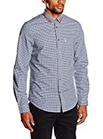 Ben Sherman Camisa Hombre Ls Tipped Collar Gingham (Azul / Blanco)