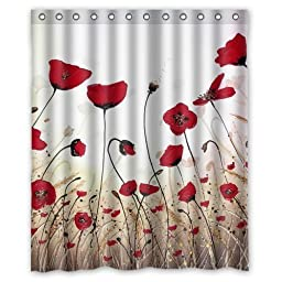 Custom Beautiful Poppy Waterproof Polyester Fabric 60\