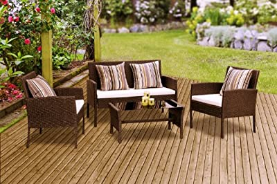 New Riviera Rattan Wicker Weave Garden Furniture Patio Conservatory Sofa Set