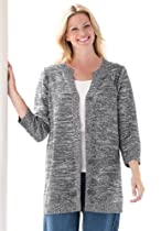Plus Size Sweater, Cardigan Style In Rich Marled Yarn (Black White,1X)