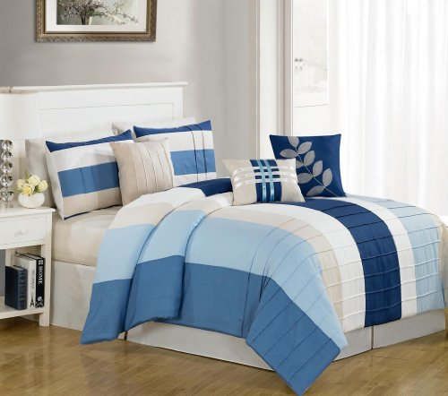 Best  Piece Cal King Kendal Blue Bed in a Bag w TC Sheet Set