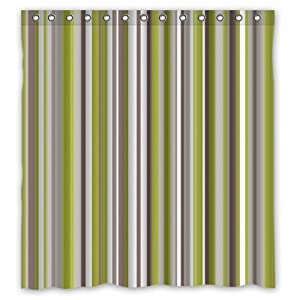 Popular Light Green Grey Brown Strips Shower Curtain Polyester F