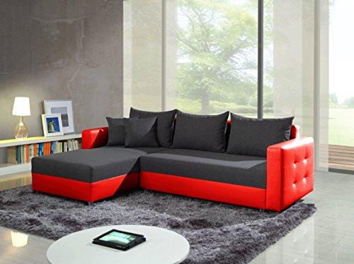 ariel grigio scuro/rosso esclusivo moderno divano divano, divano ... - L Forma Divano In Tessuto Moderno Angolo