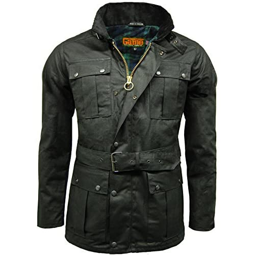 <strong>Mens Game Continental Belted Biker Wax Motorcycle <strong>Jacket