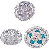 GS MUSEUM Silver Plated Rani Kumkum Plate, Silver Plated Oval Kumkum Plate And Silver Plated Devdas Diya Diamond...